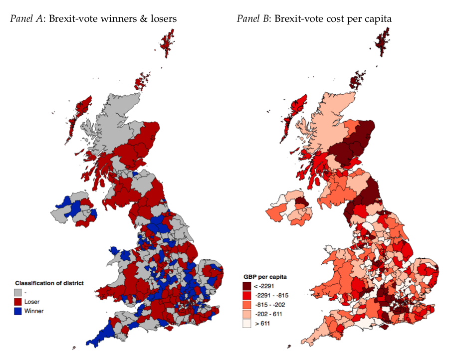 Maps of UK showing which areas have been most and least affected by Brexit so far.